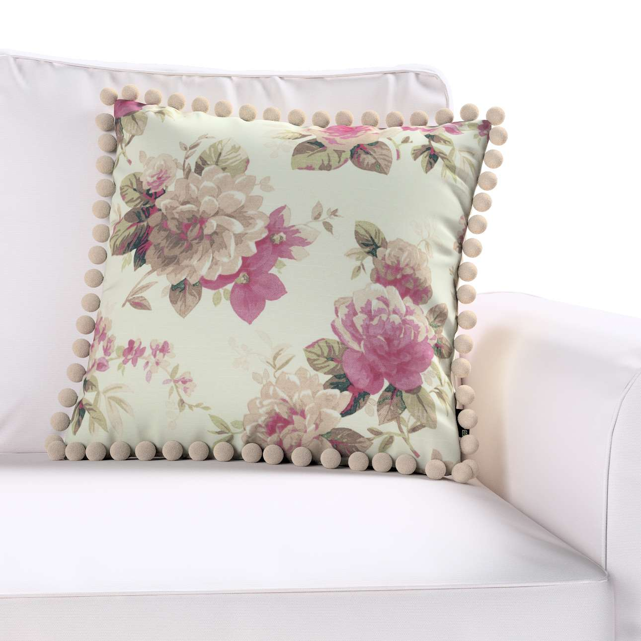 Wera dekoratyvinės pagalvėlės užvalkalas su žaismingais kraštais kolekcijoje Mirella, audinys: 141-07