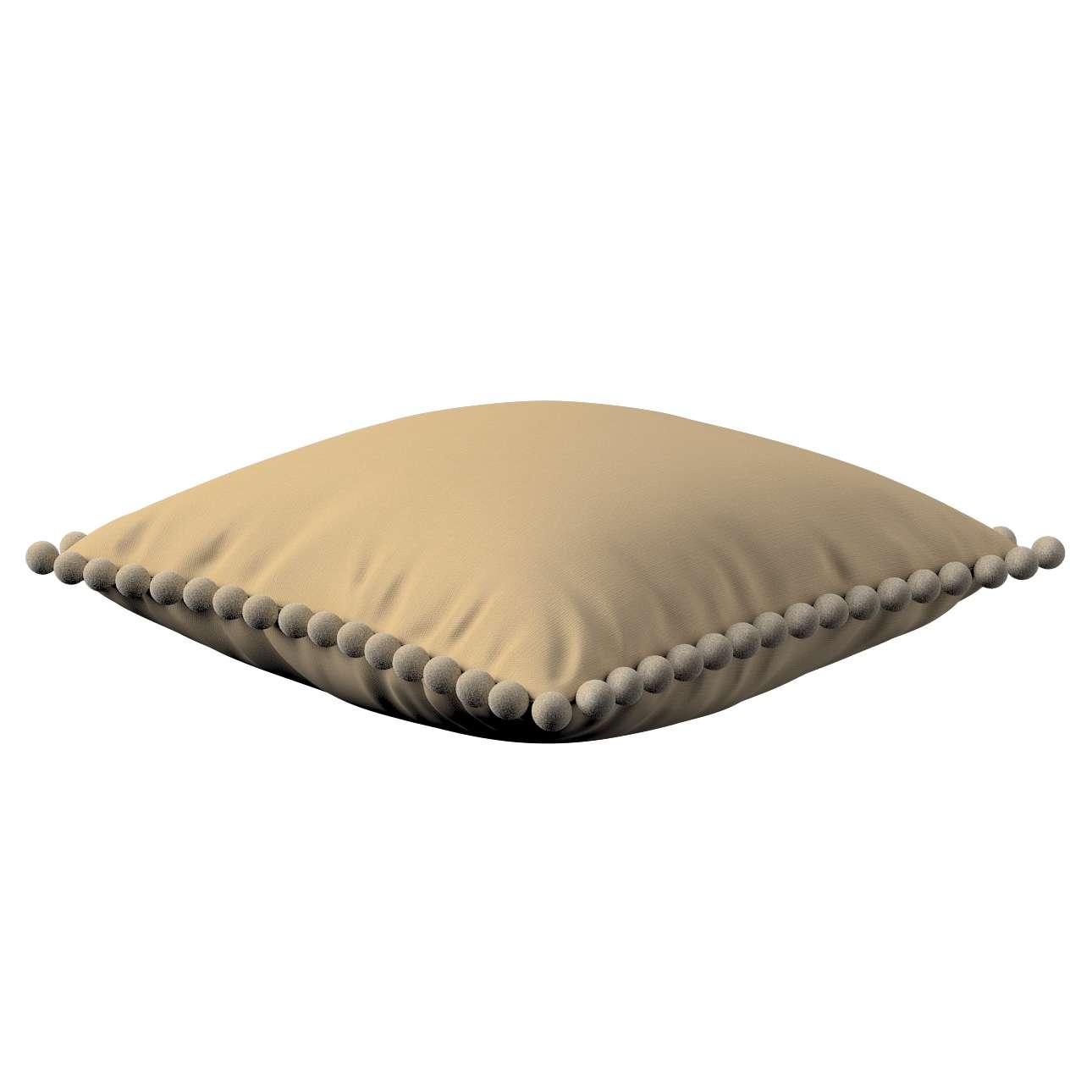 Kissenhülle Wera mit Bommeln 45 x 45 cm von der Kollektion Cotton Panama, Stoff: 702-01