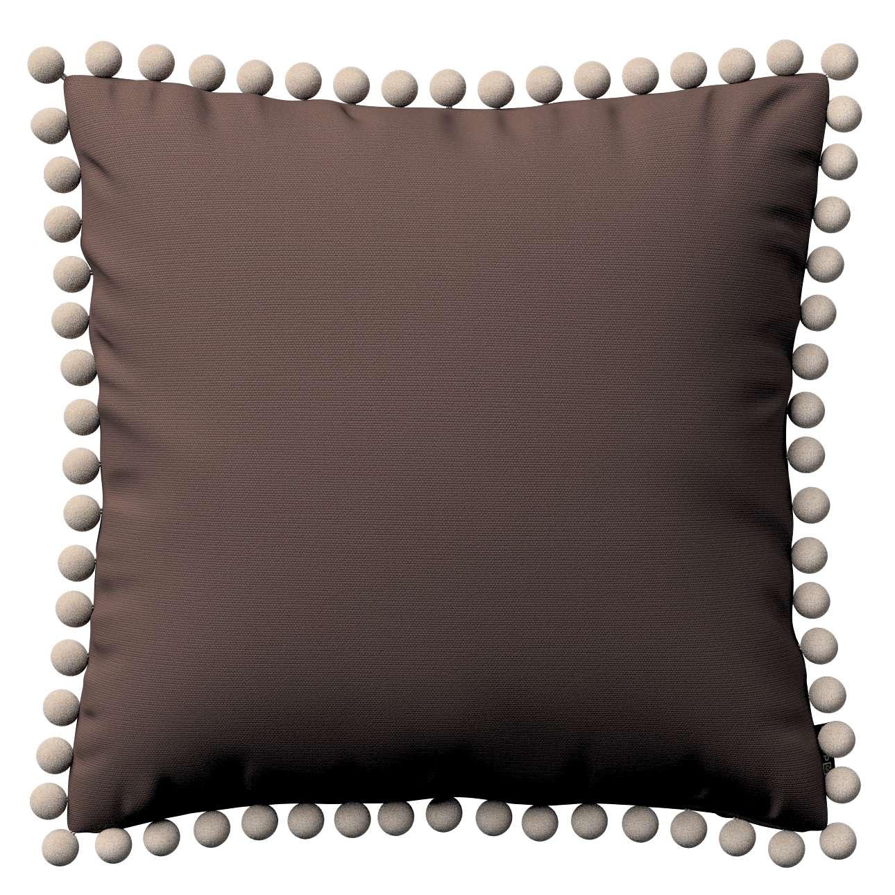 Kissenhülle Wera mit Bommeln 45 x 45 cm von der Kollektion Cotton Panama, Stoff: 702-03
