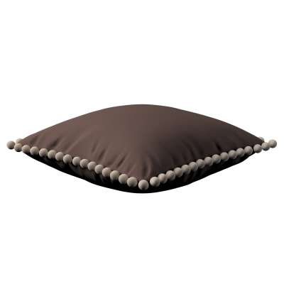 Vera cushion cover with pom poms 702-03 chocolate Collection Panama Cotton