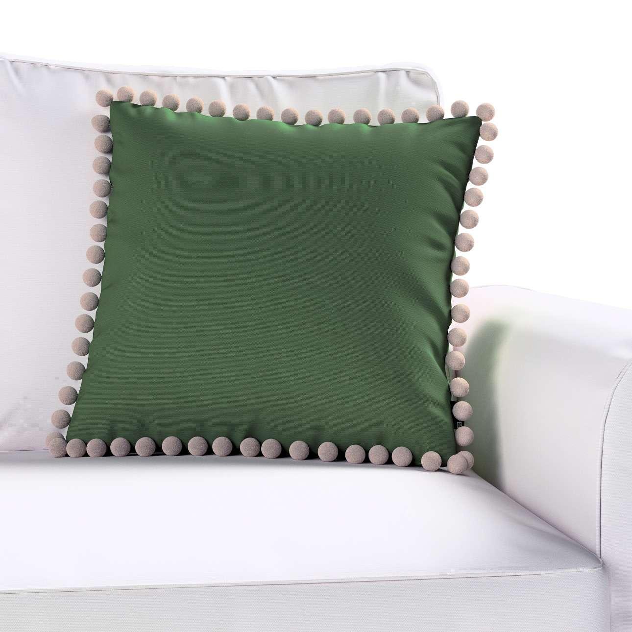 Kissenhülle Wera mit Bommeln von der Kollektion Cotton Panama, Stoff: 702-06