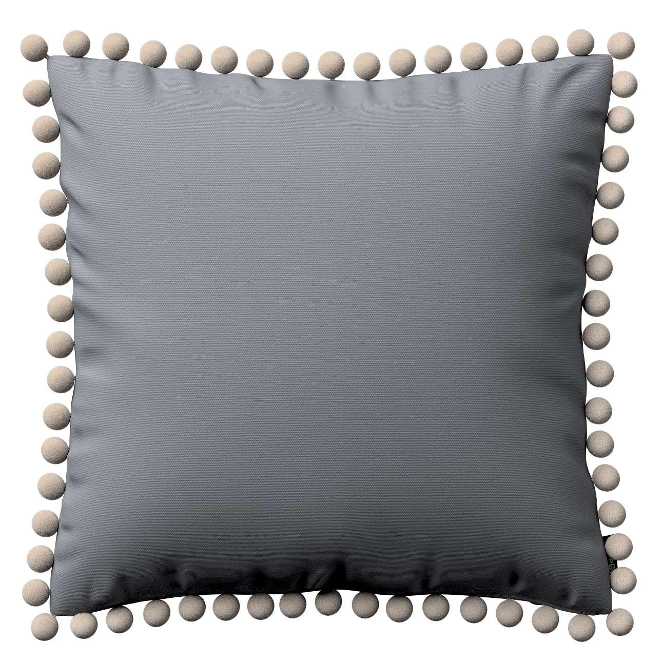 Kissenhülle Wera mit Bommeln 45 x 45 cm von der Kollektion Cotton Panama, Stoff: 702-07