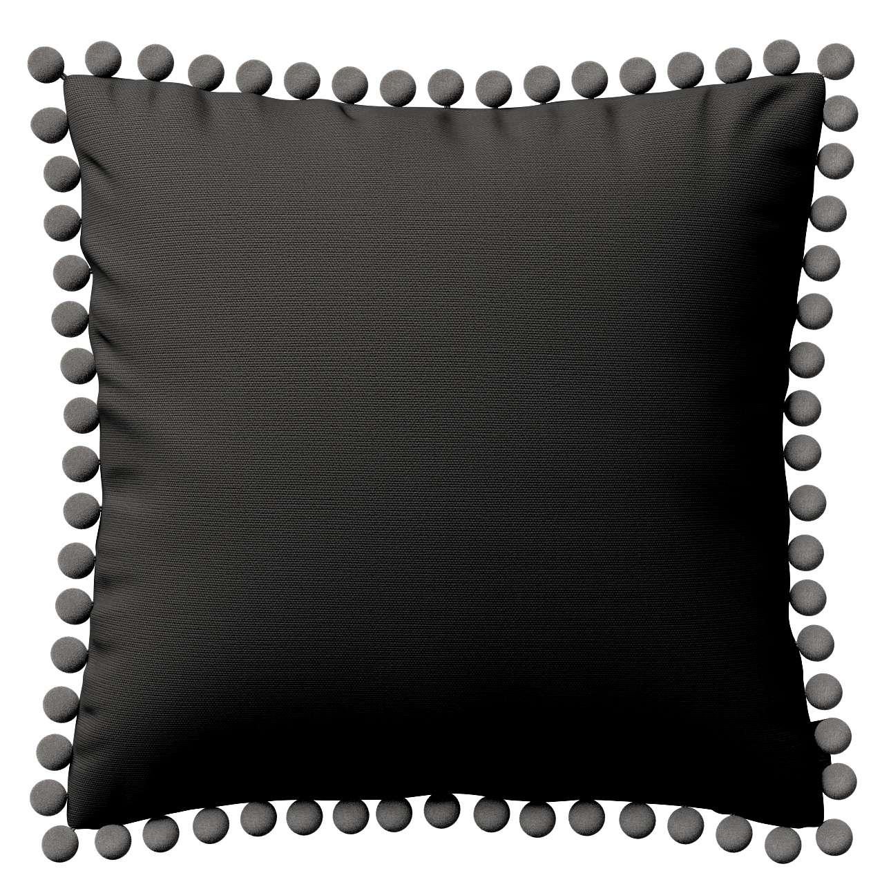Kissenhülle Wera mit Bommeln, Shadow grey, 45 × 45 cm, Cotton Panama | Heimtextilien > Bettwäsche und Laken | Dekoria