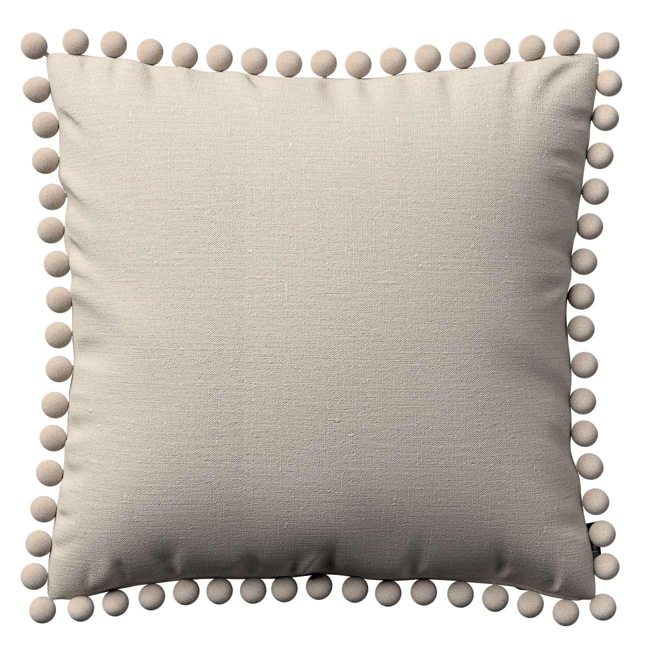 Wera dekoratyvinės pagalvėlės užvalkalas su žaismingais kraštais 45 x 45 cm kolekcijoje Linen , audinys: 392-05