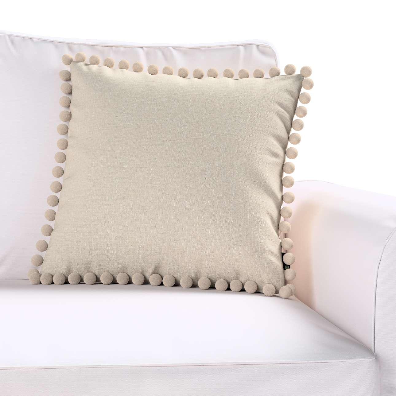 Wera dekoratyvinės pagalvėlės užvalkalas su žaismingais kraštais kolekcijoje Linen , audinys: 392-05