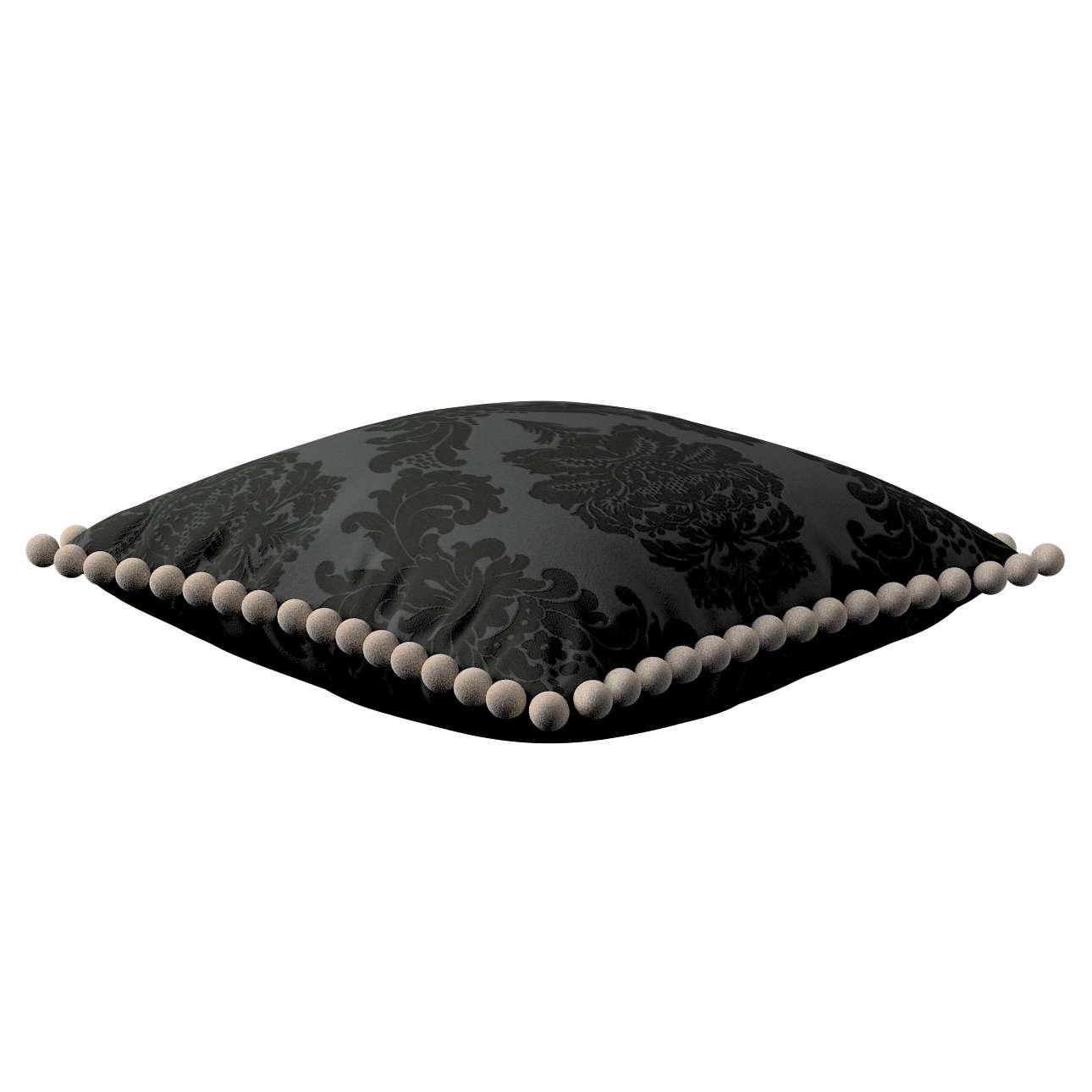 Kissenhülle Wera mit Bommeln 45 x 45 cm von der Kollektion Damasco, Stoff: 613-32