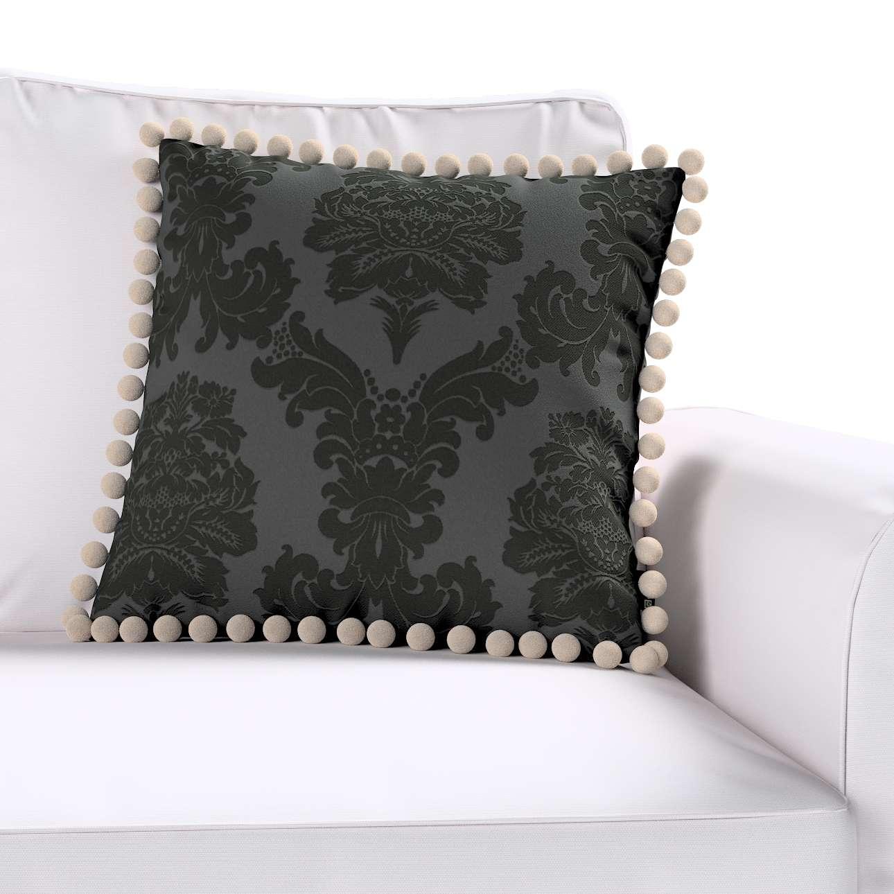 Wera dekoratyvinės pagalvėlės užvalkalas su žaismingais kraštais 45 x 45 cm kolekcijoje Damasco, audinys: 613-32