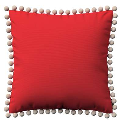 Vera cushion cover with pom poms 133-43 red Collection Loneta