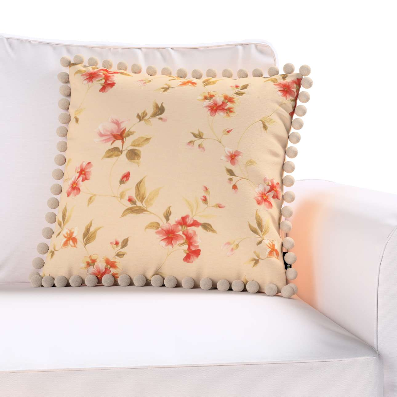 Wera cushion cover with pompons 45 x 45 cm (18 x 18 inch) in collection Londres, fabric: 124-05
