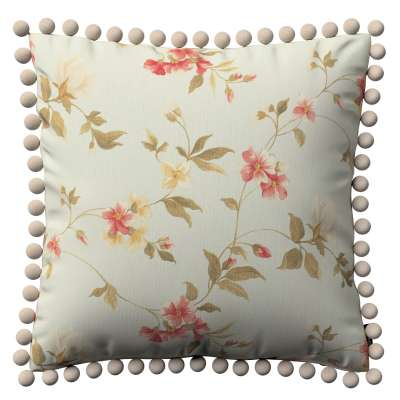 Vera cushion cover with pom poms 124-65 large red, yellow and off white flowers, light blue background  Collection Londres