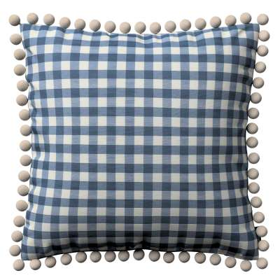 Vera cushion cover with pom poms 136-01 navy blue and white check (1.5cm x 1.5cm) Collection Quadro