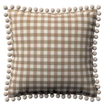 Poszewka Wera na poduszkę 136-06 beżowo biała kratka (1,5x1,5cm) Kolekcja Quadro