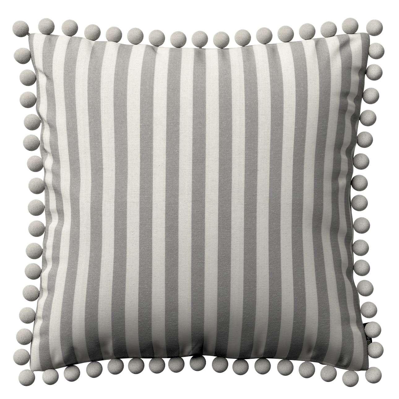 Wera dekoratyvinės pagalvėlės užvalkalas su žaismingais kraštais kolekcijoje Quadro, audinys: 136-12