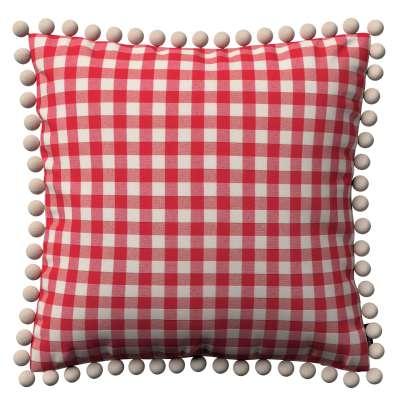 Kussenhoes Wera met pompons 136-16 rood-ecru Collectie Quadro