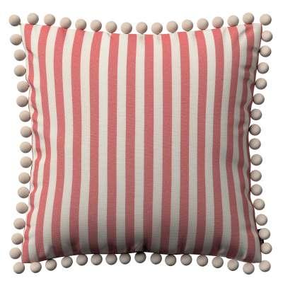 Viera s brmbolcami 136-17 červeno-biele prúžky Kolekcia Quadro