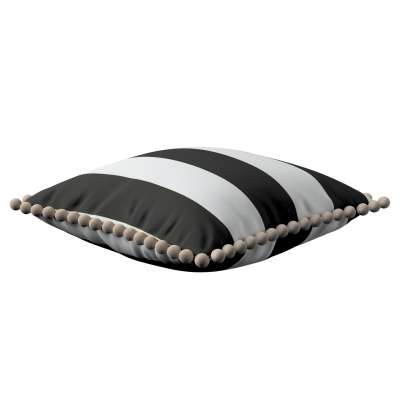 Vera cushion cover with pom poms 137-53 black and white stripes Collection Comics/Geometrical