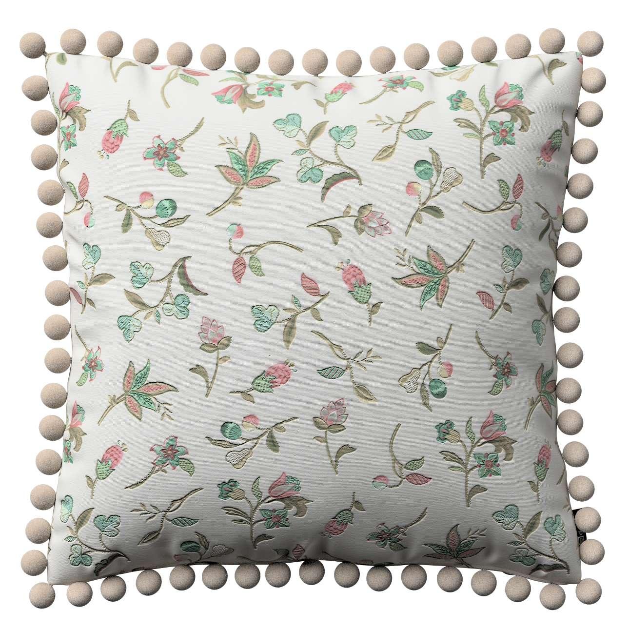 Kissenhülle Wera mit Bommeln, ecru, 45 × 45 cm, Londres | Heimtextilien > Bettwäsche und Laken > Kopfkissenbezüge | Dekoria