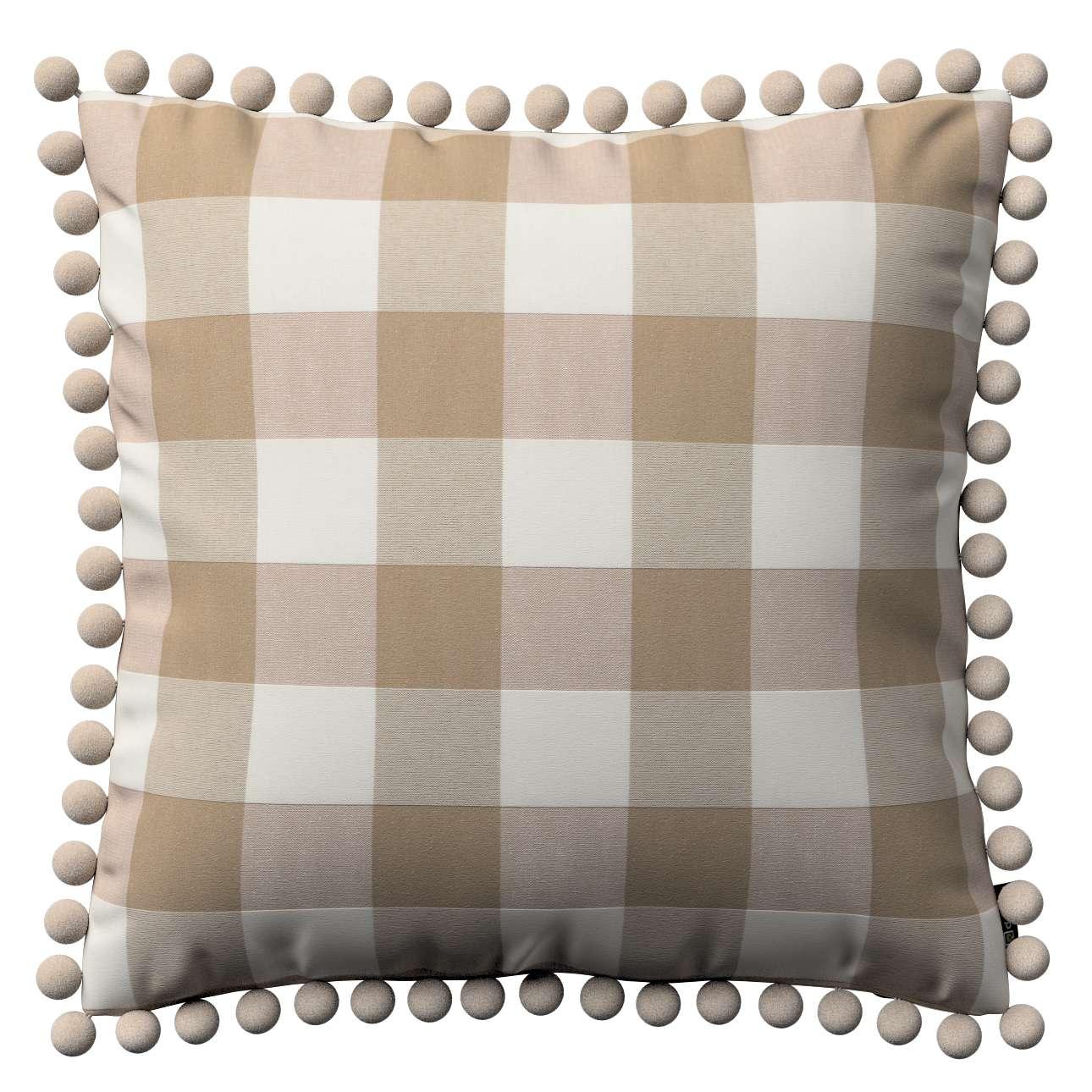 Wera dekoratyvinės pagalvėlės užvalkalas su žaismingais kraštais 45 x 45 cm kolekcijoje Quadro, audinys: 136-08