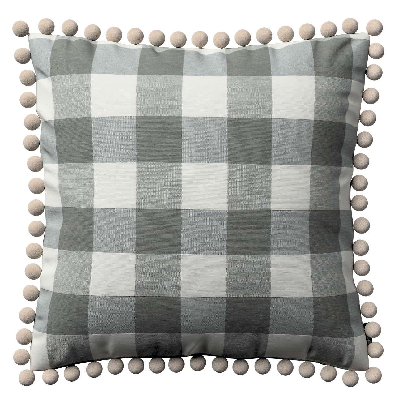 Wera dekoratyvinės pagalvėlės užvalkalas su žaismingais kraštais 45 x 45 cm kolekcijoje Quadro, audinys: 136-13