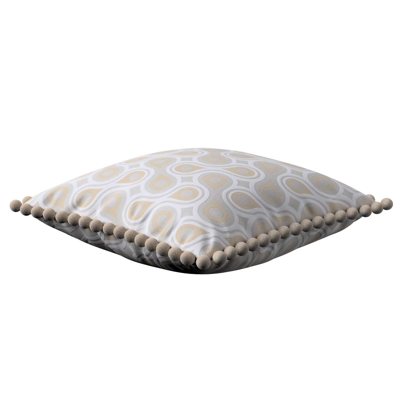 Vera cushion cover with pom poms in collection Flowers, fabric: 311-11