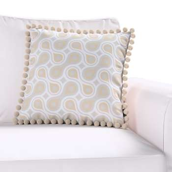 Wera cushion cover with pompons 45 x 45 cm (18 x 18 inch) in collection Flowers, fabric: 311-11