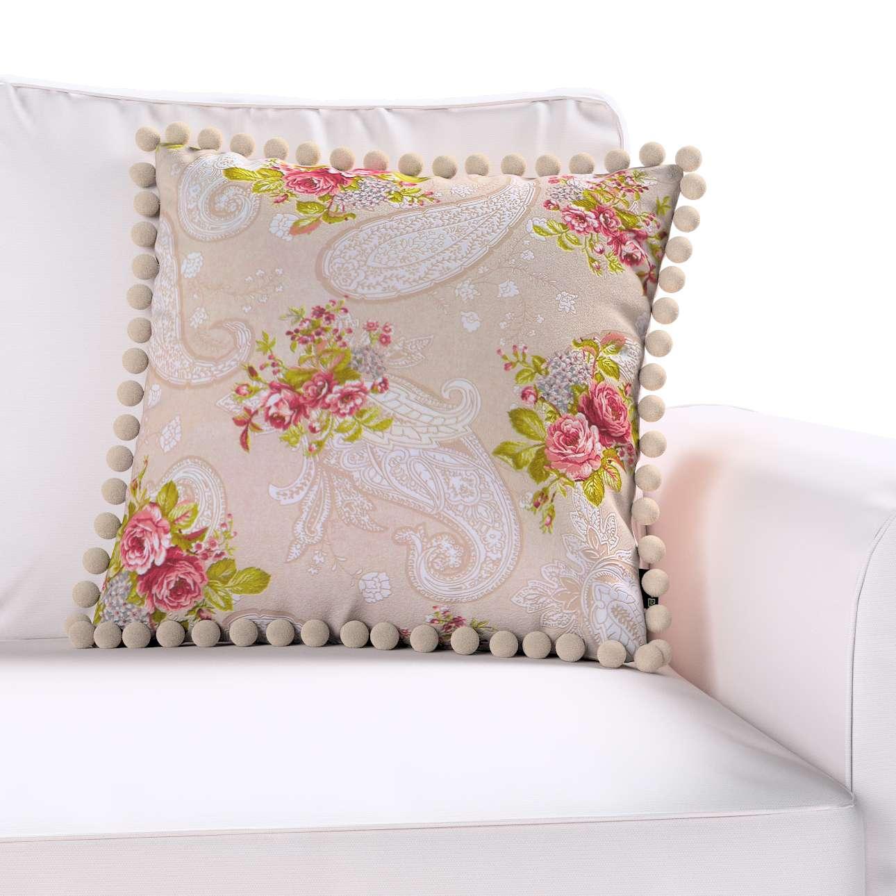 Wera dekoratyvinės pagalvėlės užvalkalas su žaismingais kraštais 45 × 45 cm kolekcijoje Flowers, audinys: 311-15