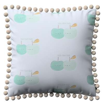 Vera cushion cover with pom poms 151-02 light green apples on white background Collection Little World