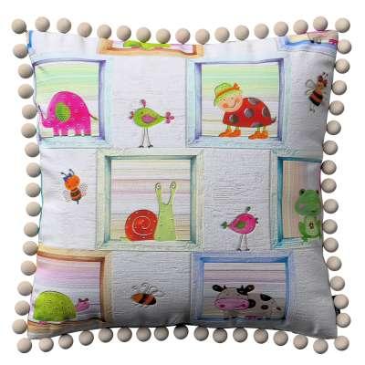 Kussenhoes Wera met pompons 151-04 bont Collectie Little World