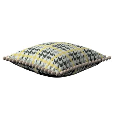 Vera cushion cover with pom poms 137-79 yellow and black houndstooth Collection SALE