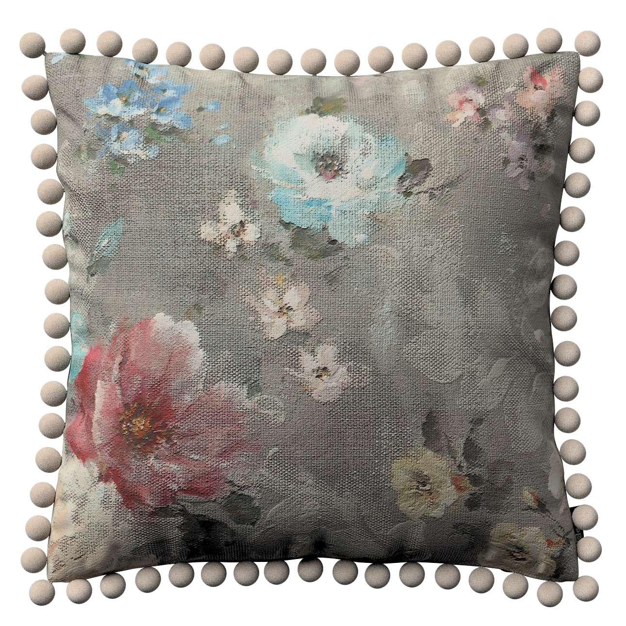 Kissenhülle Wera mit Bommeln 45 x 45 cm von der Kollektion Monet, Stoff: 137-81