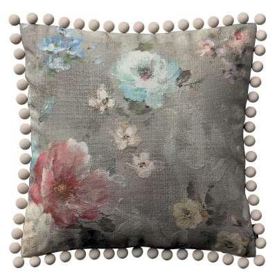 Poszewka Wera na poduszkę 137-81 niebieskie i różowe kwiaty na szarym tle Kolekcja Flowers