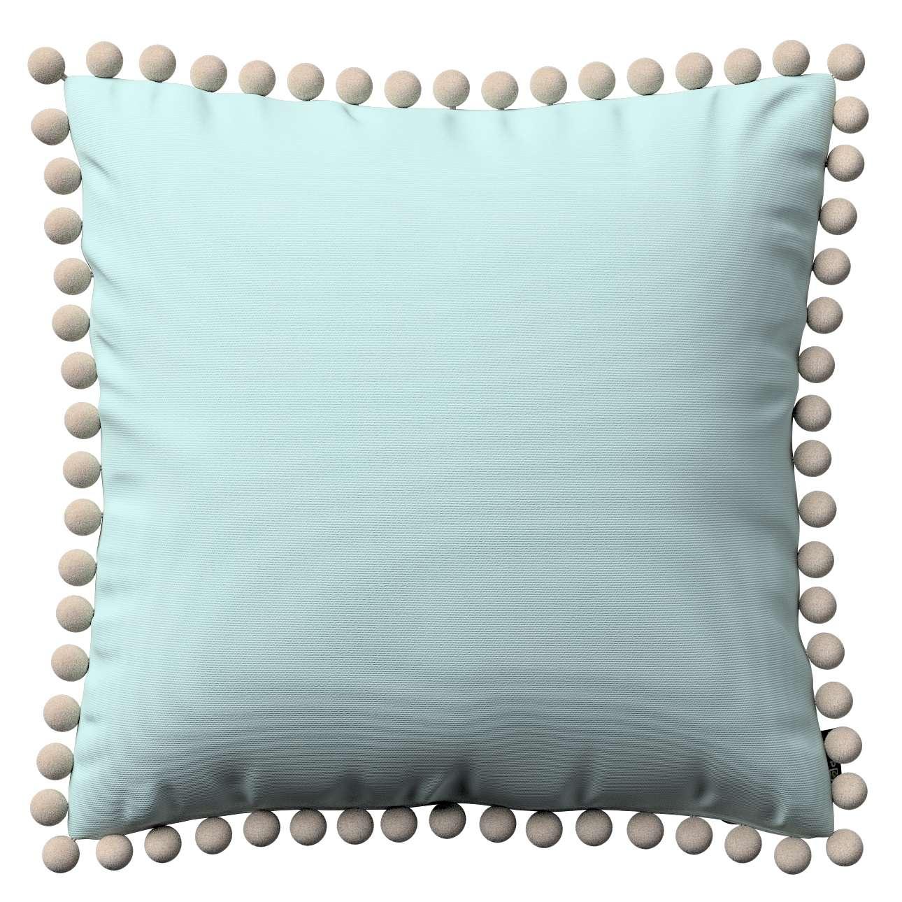 Kissenhülle Wera mit Bommeln 45 x 45 cm von der Kollektion Cotton Panama, Stoff: 702-10