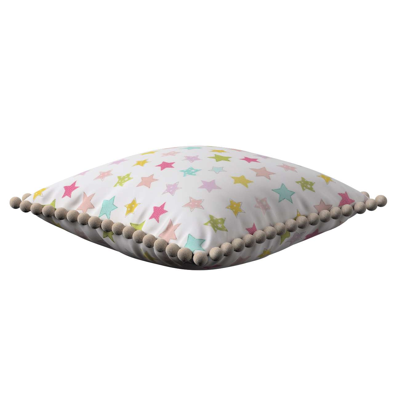 Vera cushion cover with pom poms in collection Little World, fabric: 141-52