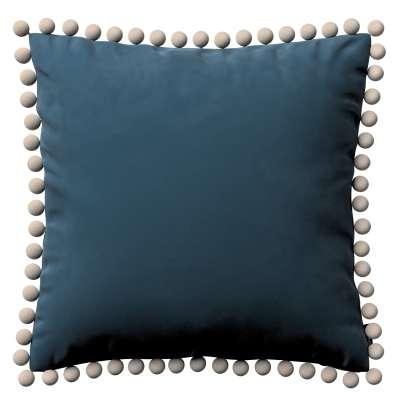 Wera dekoratyvinės pagalvėlės užvalkalas su žaismingais kraštais 704-16 Mėlyna Kolekcija Velvetas/Aksomas