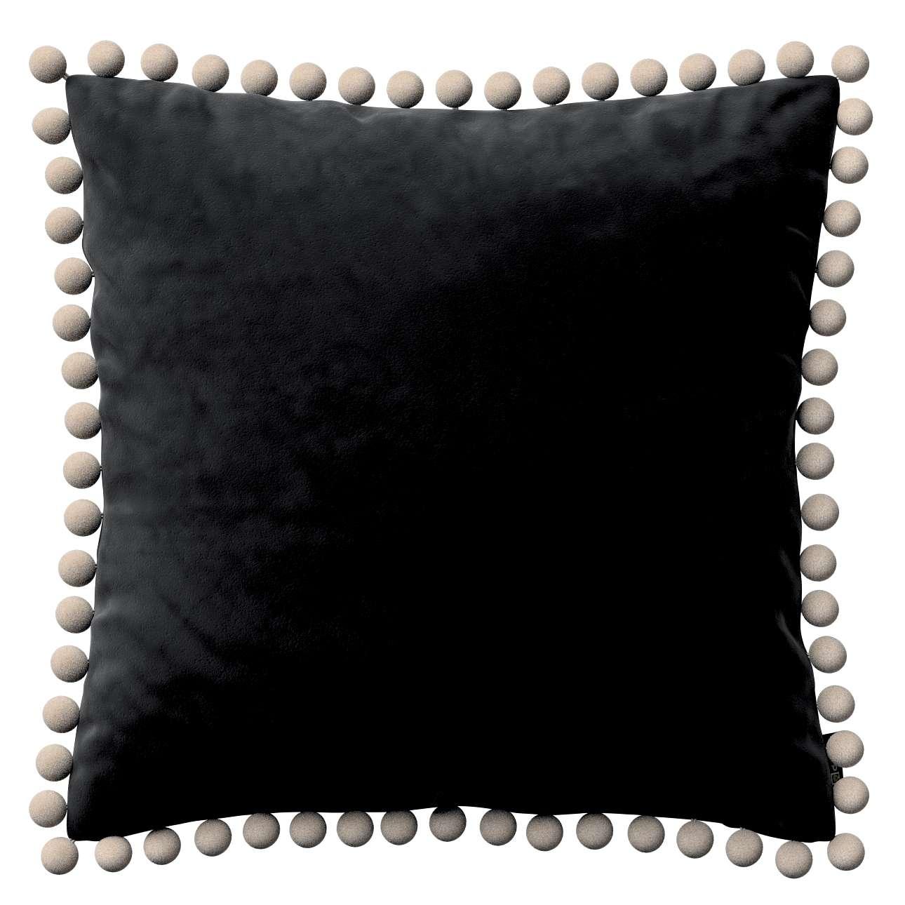 Wera dekoratyvinės pagalvėlės užvalkalas su žaismingais kraštais kolekcijoje Velvet/Aksomas, audinys: 704-17