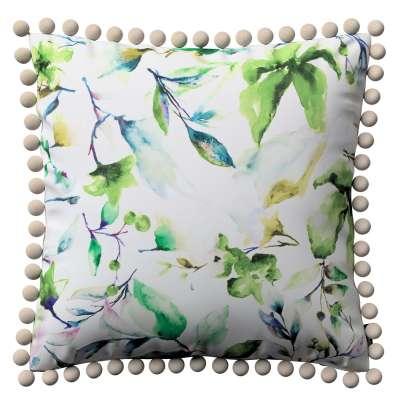 Wera dekoratyvinės pagalvėlės užvalkalas su žaismingais kraštais 704-20 Žalsvi motyvai šviesiame fone Kolekcija Velvetas/Aksomas