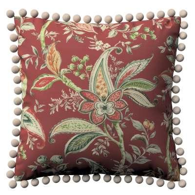 Poszewka Wera na poduszkę 142-12 wzory roślinne i kwiatowe na czerwono-ceglanym tle Kolekcja Gardenia