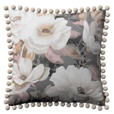 Poszewka Wera na poduszkę 142-13 kremowe i różowe kwiaty na szarym tle  Kolekcja Gardenia