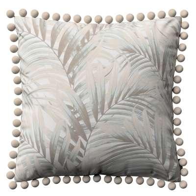 Wera dekoratyvinės pagalvėlės užvalkalas su žaismingais kraštais 142-14 rusvi pilkšvi lapai šviesiame fone Kolekcija Gardenia