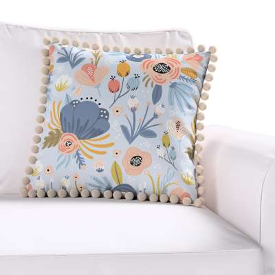 Daisy cushion covers with pom poms in collection Magic Collection, fabric: 500-05