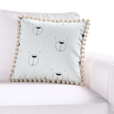 Daisy cushion covers with pom poms in collection Magic Collection, fabric: 500-06