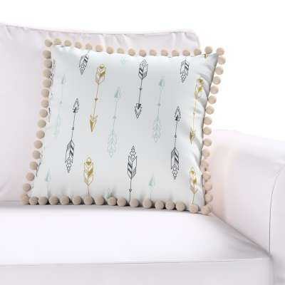 Daisy cushion covers with pom poms in collection Magic Collection, fabric: 500-07