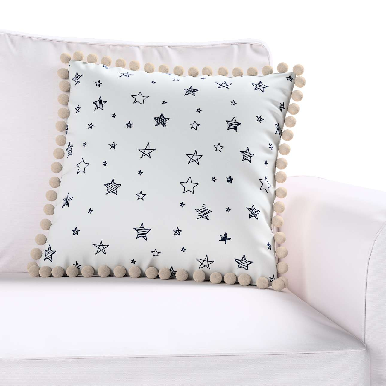 Daisy cushion covers with pom poms in collection Magic Collection, fabric: 500-08