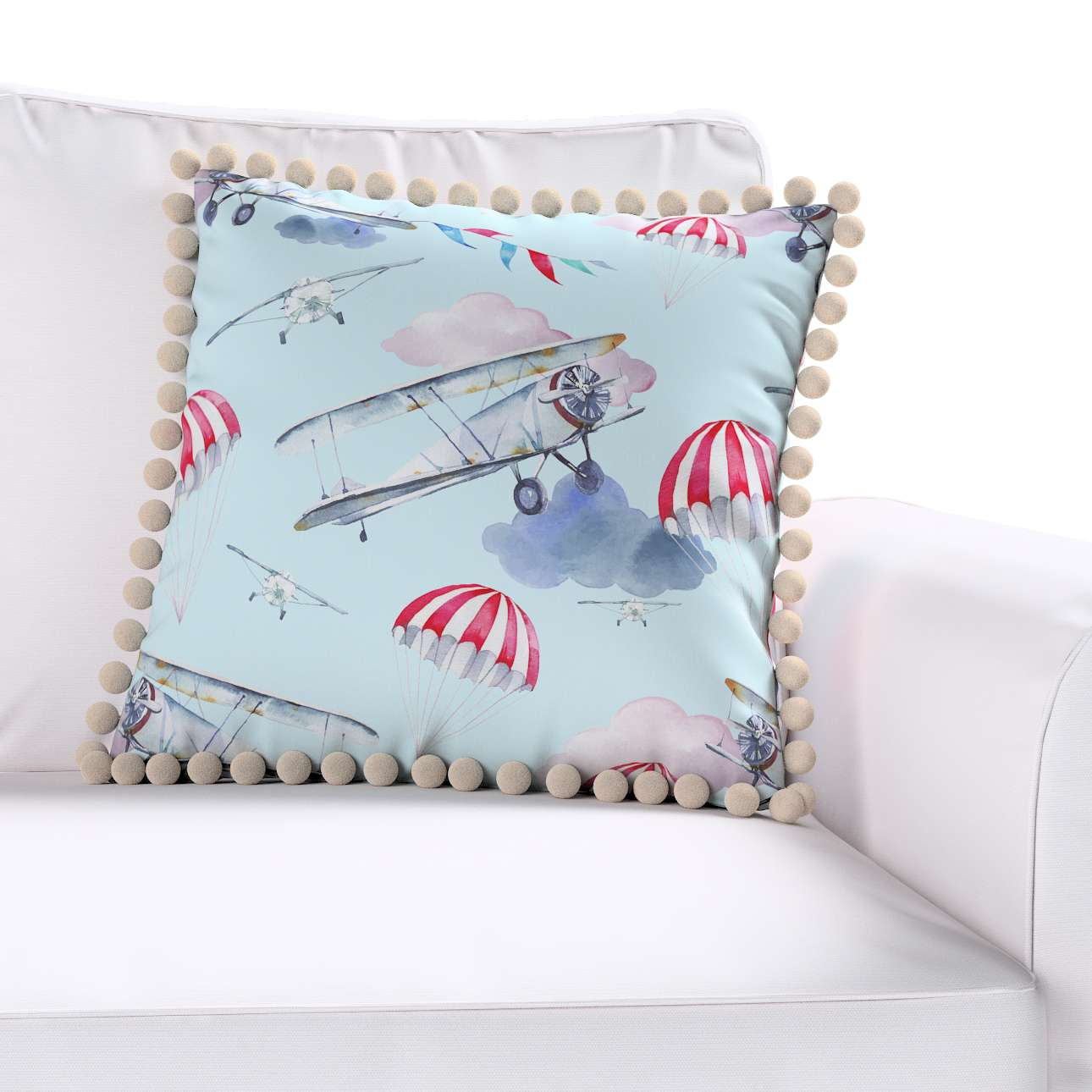 Daisy cushion covers with pom poms in collection Magic Collection, fabric: 500-10
