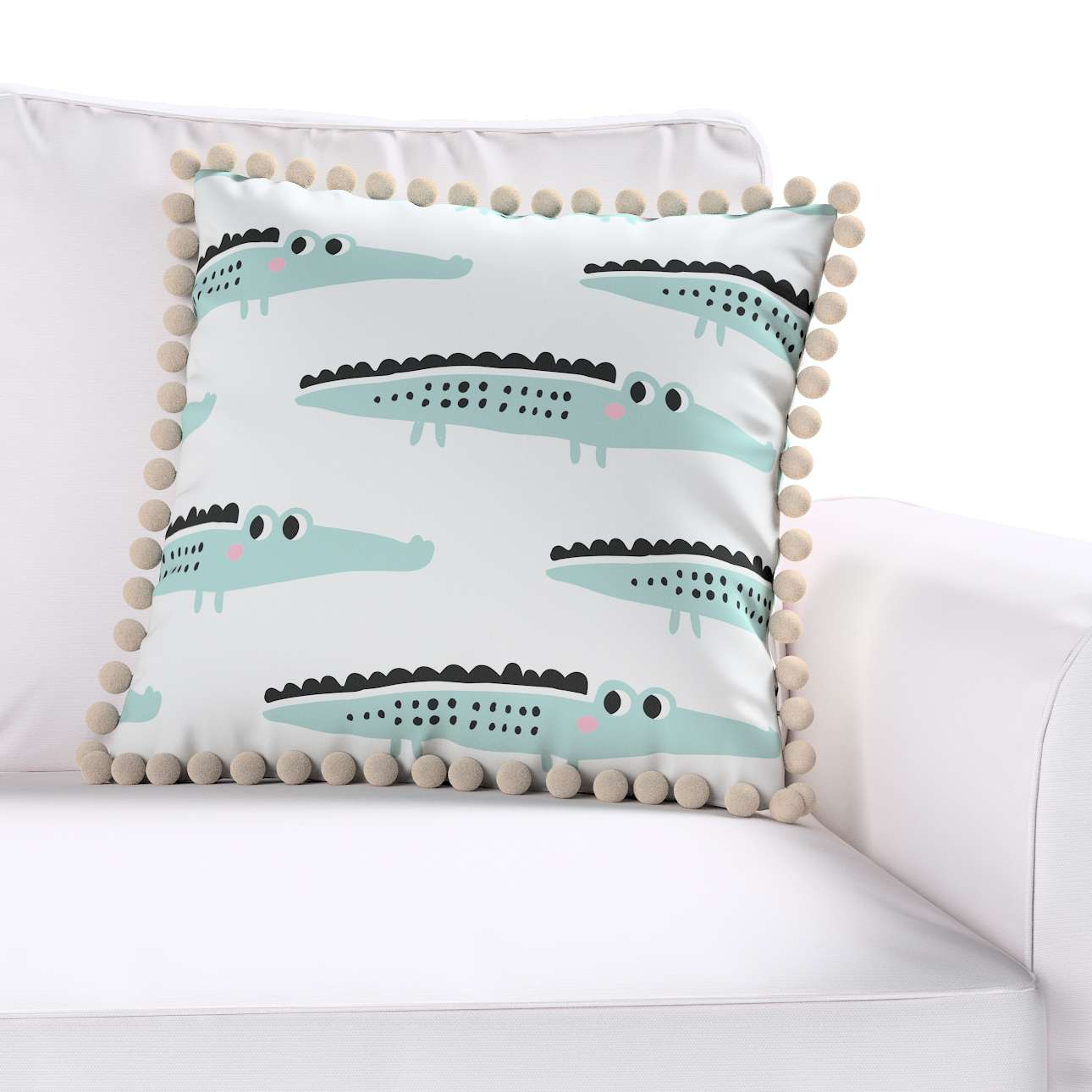 Daisy cushion covers with pom poms in collection Magic Collection, fabric: 500-11