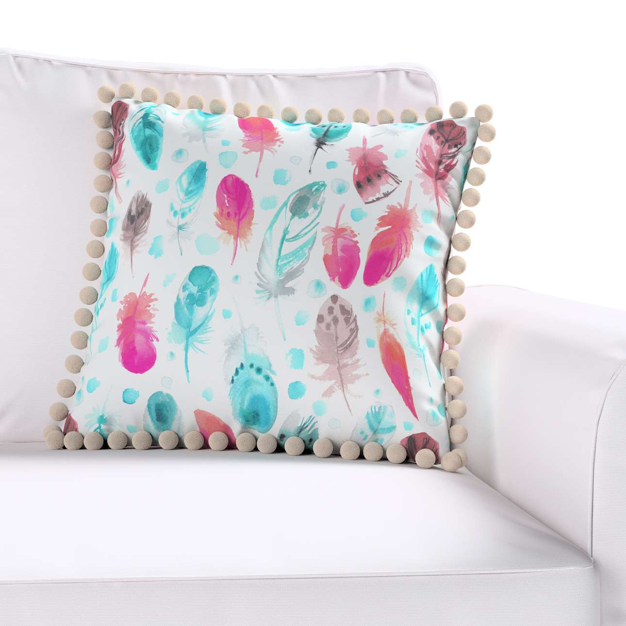 Daisy cushion covers with pom poms in collection Magic Collection, fabric: 500-17