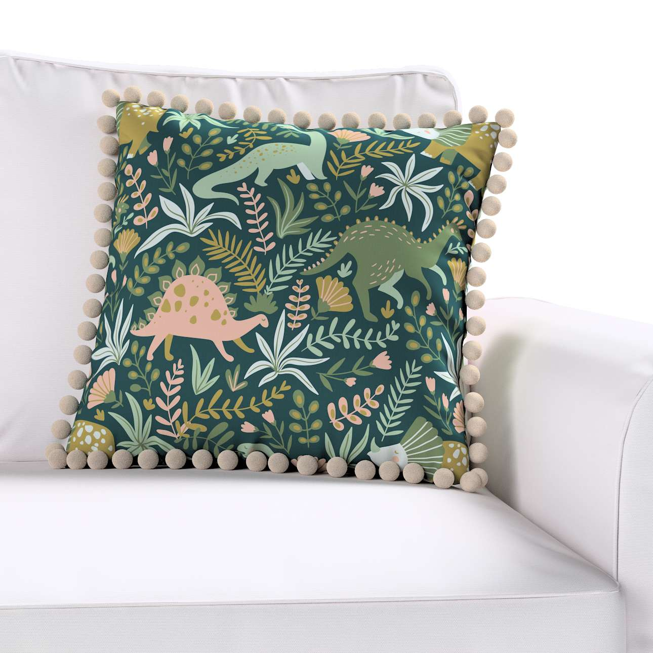 Daisy cushion covers with pom poms in collection Magic Collection, fabric: 500-20