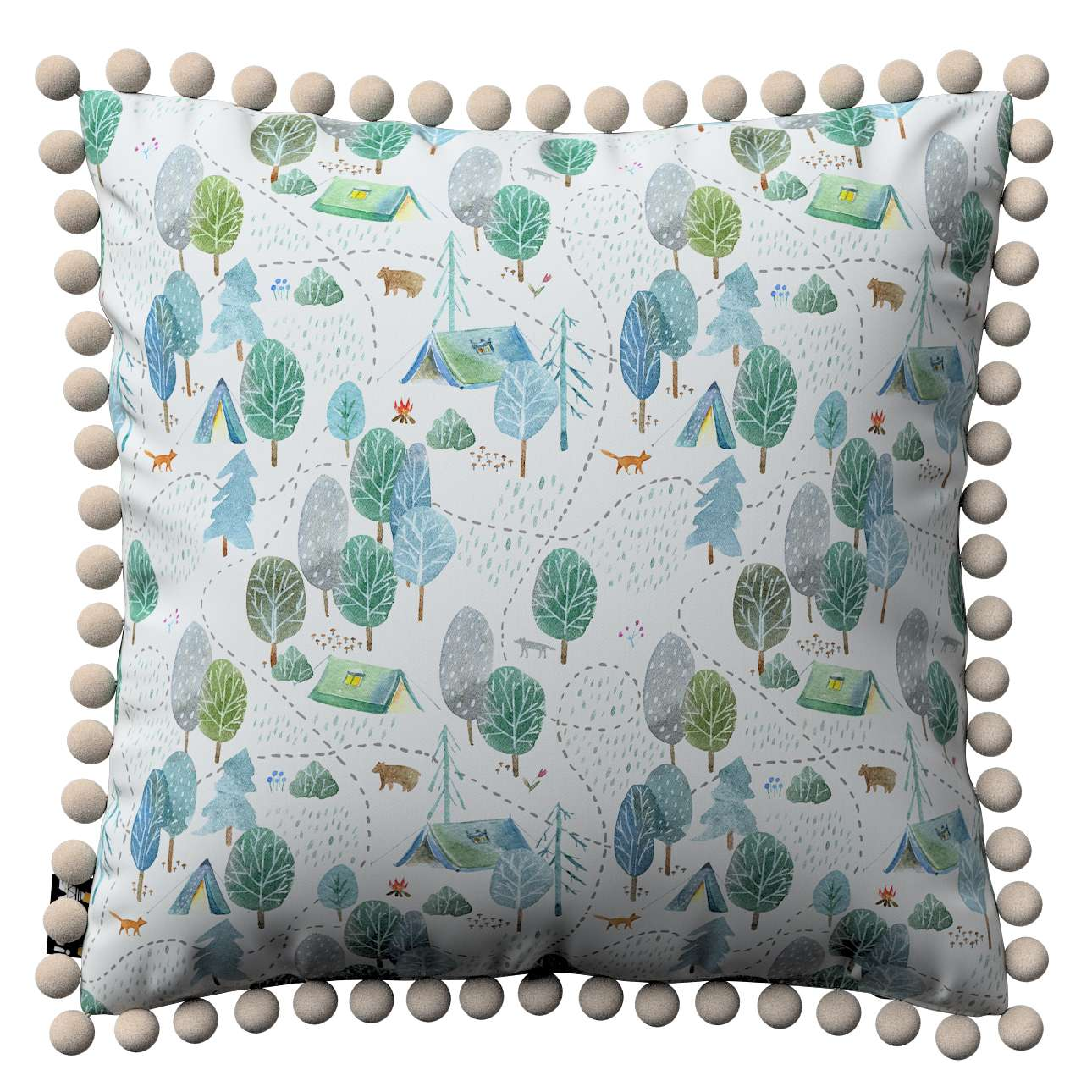 Daisy cushion covers with pom poms in collection Magic Collection, fabric: 500-21