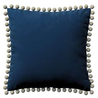 Kissenhülle Wera mit Bommeln 704-29 dunkelblau Kollektion Velvet