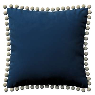 Putetrekk<br/>Vera med pomponer 704-29 Mørkeblå Kolleksjon Velvet